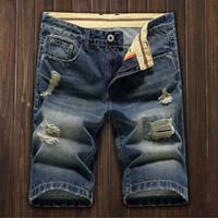 Moda Erkek Kısa Denim delik Jean Pantolon Rahat Kot Pantolon Uyluk Ripped Delikler Şort 28-36