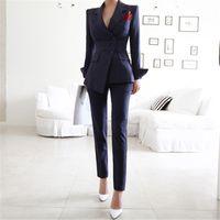 パンツスーツ2ピースセット女性オフィスの女性の衣装のための縞模様のブレザージャケットズボン春のビジネスフォーマルな仕事の摩耗