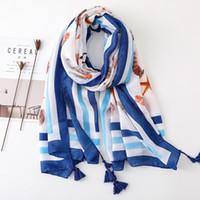6 unids Nueva Hermosa Sea Shell imprime con la borla de la bufanda de los mantones para las mujeres del verano de la muchacha de las bufandas del mantón de la playa para la señora