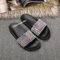 mens and womens Crystals Embellished slide sandals with Mold...