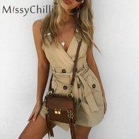 MissyChilli Хаки офисная леди кнопка сексуальное платье Женская мода backless короткое платье партии Элегантный пояс осень мини bodycon
