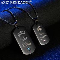 그녀의 왕 그의 여왕 커플 목걸이 상자 블랙 스테인레스 스틸 태그 펜던트 목걸이 돌 보석 크리스마스 선물