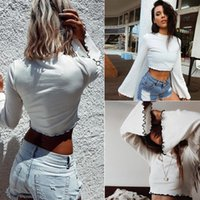 New Style Women O Neck Long Flare Sleeve T- Shirt Casual Whit...