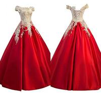 2019 épaule robes formelles une ligne or dentelle satin rouge dos ouvert robes de bal longues robes de soirée élégante robe de soirée femmes