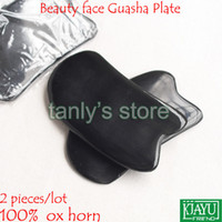 2pieces / lot gros traditionnel Acupuncture Massage Outil beauté visage Guasha Conseil / 100% Ox Horn