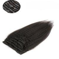 Перуанский странный прямо клип в наращивание волос 9 шт. и 120г/набор натуральный черный выдвижения человеческих волос грубый Яки номера Реми волос