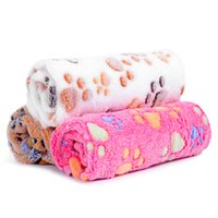 Soft Dog Blankets Pet Bed Mat Cover Winter Warm Paw Print Pe...