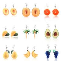 Brincos de fruta Brincos De Frutas Pêssego Uva Coqueiro Laranja Manga Cantaloupe Abacate Para As Mulheres Jóias Charme Presentes