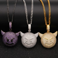 Emoji Little Devil Face Pendant AAA CZ Bling Iced Out Champa...