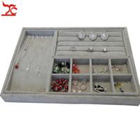 Velluto Anello orecchino Collection Case Beads Organizer Collana Storage Tray 4Pcs Jewelry Organizer Tray 35 * 24 * 3cm