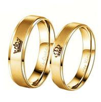 Colore oro Re e Regina Corona in acciaio inossidabile Coppia Anelli Anelli in oro Per amanti delle coppie Love Promise Rings For Men Women
