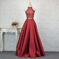 Beaded Lace Satin 2 Pieces Prom Dresses Royal Blue Burgundy ...