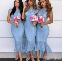 2019 Gökyüzü Mavi Mermaid Nedime Elbiseler Jewel Boyun Cap Kollu Tam Dantel Yüksek Düşük Çay Boyu Resmi Düğün Misafir hizmetçisi
