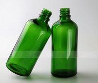 Las botellas de 100ml de vidrio vacíos botellas de vidrio verde Euro gotero con Negro Caps Tamper Evident y el orificio Reductores