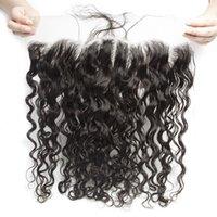 Бразильская натуральная волна 13x4 ухо до уха предварительно сорванная кружевная лобное закрытие с детским волосом Remy человеческие волосы свободно