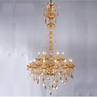 Lustre En Cristal Européen Duplex Maison Salon Grand Lustre Escalier Bâtiment De Luxe Étage Moyen Hôtel Golden Long Lampe