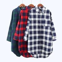 682e78e8426 Women Top Limited Tops Sale 2018 Autumn Plaid Shirts Blouses Medium Long  Casual Loose Vintage Flannel Shirt Sleeve Plus Size