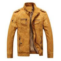 Yeni Kış Moda erkek Mont Ve ceketler erkekler Artı Kadife PU deri ceket Için erkek Sıcak Tutmak Kalın Ceketler Dış Giyim XXXL