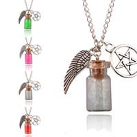 Heiße Frauen Retro Handarbeit Engel Flügel Pentagramm Glas Wishing Flasche Anhänger Supernatural Schutz Kette Halskette 7 Stile