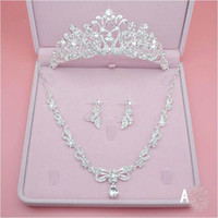 Shining Three Pieces Bridal Jewelry Accessories 2018 Crystal...