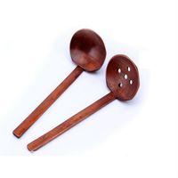Venta al por mayor de madera vajilla sopa de tortuga cucharón japonés Ramen cuchara de bambú mango colador Hot Pot cuchara wen6749