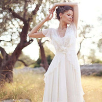 Country Boho Wedding Dress Lace Chiffon Floor Length V Neck ...