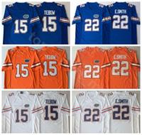 NCAA Florida Gators كلية 15 تيم تيبو جيرسي الرجال 22 Emmitt سميث 6 جيف درعور كرة القدم الفانيلة جامعة التطريز أزرق برتقالي أبيض
