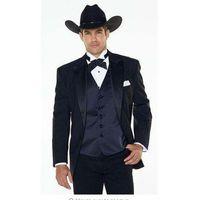 (jakcet + السراويل + البحرية الأزرق سترة) الشق التلبيب الغربية رعاة البقر نمط الرجال البدلة الأسود العريس ارتداء البدلات الرسمية أفضل رجل الدعاوى الزفاف للرجال