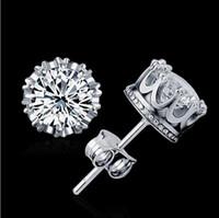 Hot 2018 orecchini per borchie gioielli moda unisex donne alla moda / uomini orecchini di cristallo orecchini corona orecchino piercing regali all'ingrosso