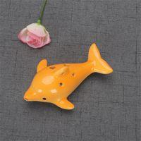 Bonito 6 buraco cerâmico golfinho ocarina brinquedo educativo instrumento musical animal forma educacional música flauta charme 147 n2