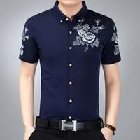 Uwback Verano Casual Camisas de Los Hombres 2017 de Impresión de Moda Floral de Manga Corta Camisas de Seda Homme Navy Blanco Formal Delgado 3XL XA140