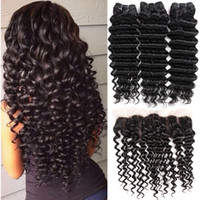Brazilian Human Hair Bundles with Lace Frontal Closure Brazi...