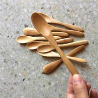 100 Peças Pequenas Colher De Bambu 13.5 cm Colheres Naturais Duráveis para Café Café Chá Mel Açúcar Sal Geleia Mostarda Sorvete Utensílios Artesanais