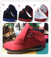 18 red suede mens basketball shoes 18s gym red black sports ...