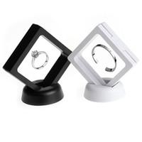 Ювелирные изделия кольцо кулон дисплей стенд приостановлено плавающей витрина ювелирные изделия монеты драгоценные камни артефакты стенд держатель коробка для женщин белый черный 2