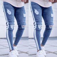 Männer Jeans Knieloch Seite Reißverschluss Slim Distressed Männer zerrissen Rutschen für Streifenhosen