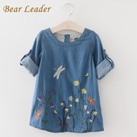 Ours Leader Denim Dress 2018 Enfants Vêtements Automne Casual Style Filles Vêtements Papillon Broderie Robe Enfants Vêtements