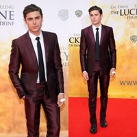 Handsome Burgundy Mens Suits Slim Fit Two Pieces Groomsmen W...