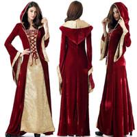 Mittelalterkleid Robe Frauen Renaissance Kleid Prinzessin Königin Kostüm Samt Hofmädchen Halloween Kostüm Vintage Kapuzen Kleid