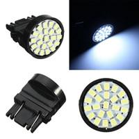 2pcs blanc 3157 3057 22-SMD 1206 voiture LED ampoule frein queue stop feu arrière lampe