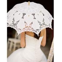 100% coton fait à la main Vintage BeigeWhite Battenburg dentelle Parasol forme de coeur parapluie pour dame