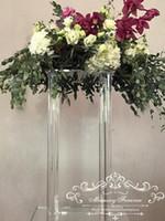 새로운 우아한 거울 효과 웨딩 센터 피스 테이블 장식 클리어 아크릴 열 꽃 스탠드 결혼 꽃병 기둥