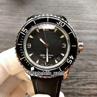 Cincuenta Fathoms 50 Fathoms 5015-1130-52 Japón Miyota 8215 Dial negro automático Reloj para hombre Nylon / Correa de cuero Cristal de zafiro Nuevos relojes baratos