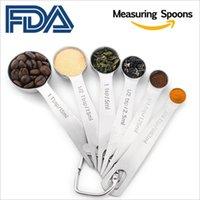 Conjunto de 6 cucharas de medición de acero inoxidable para medir ingredientes secos y líquidos Herramienta de suministros de cocina