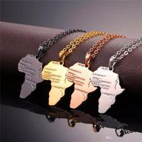 جودة عالية الهيب هوب سبيكة قلادة الذهب 4 اللون قلادة سلسلة أفريقيا خريطة قلادة هدية للرجال / نساء الاثيوبية المجوهرات العصرية