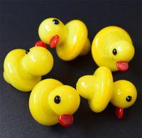 Nuevo pato UFO Carb Cap Vidrio de color sólido Cúpula de pato amarillo para 4 mm Thermal P Quartz banger Tubería de agua de uñas bongs en stock