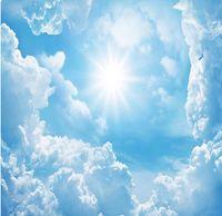 papel de parede 3d fantezi güneş mavi gökyüzü beyaz bulutlar manzara sanat zenith fresk duvar kağıtları 3d duvar