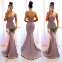 Очаровательная 2019 Dusty Pink Bridesmaid Dresses Spaghetti Straps Кружевная аппликация из бисера Длина пола Русалка Bridesmaids Вечерняя вечеринка