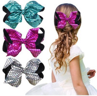 8 inch JOJO Bling Fish Scale Hair Bow Clips Girls Mermaid Ha...