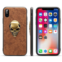 Pour Apple iPhone87Plus Xs max XR 6 S Slim Case Premium PU Cuir TPU Bumper PC Hybird Protection Shock Proof Couverture de Téléphone Avec Crâne Autocollant